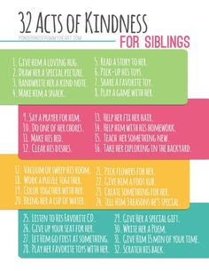 32 Acts of Kindness for Siblings