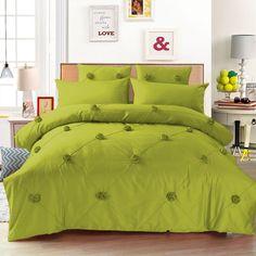 "1500 Tc 7 Pc 14""D.Pkt Twin Olive Green Rose Design Egyptian Cotton Bedding Set"