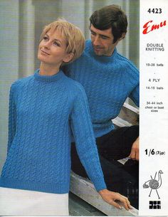 7cfe42fba461 womens mens DK   4ply sweater knitting pattern PDF ladies cable crew neck  jumper 34-44