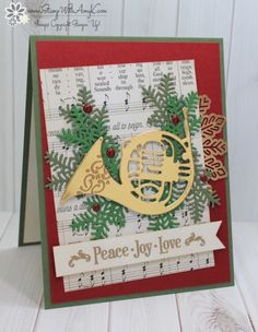 Christmas--I used the Stampin' Up! Musical Season stamp set bundle that will be available beginning September 1 to create my card for the Fab Friday sketch challenge this week. My card was inspired by one th… Christmas Cards 2017, Stamped Christmas Cards, Christmas Catalogs, Stampin Up Christmas, Christmas Wood, Christmas Music, Xmas Cards, Handmade Christmas, Holiday Cards