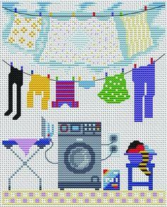 laundry cross-stitch pattern.
