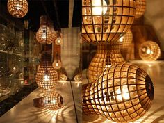 cardboard pendant lamp » Lighting Furniture made of wood with laser cutting: Wooden Bulb by Barend Hemmes post photo