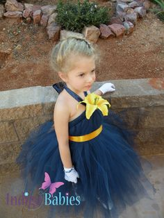 Madison is my flower girl. She will look so adorable in this Navy Orange Weddings, Yellow Wedding, Dream Wedding, Navy Blue Bridesmaid Dresses, Navy Blue Dresses, Bridesmaids, Daffodil Wedding, Indigo, Fabric Flowers