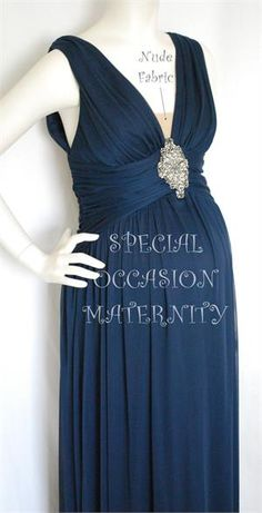 8011L Long Chiffon Vneck Maternity Dress. Military Ball Gown. Bridesmaids evening wear.