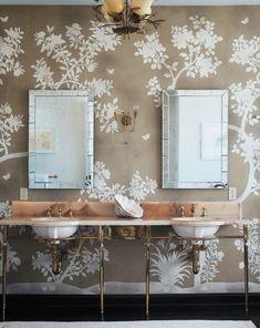 Wallpaper, pinkish marble vanity / countertop,  feminine luxe bathroom