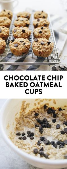 An easy make-ahead breakfast or snack for chocolate chip baked oatmeal cups. They come together easily and are ready in under 30 minutes for a healthy breakfast or snack alternative Oatmeal Bars Healthy, No Bake Oatmeal Bars, Healthy Waffles, Baked Oatmeal Cups, Baked Oatmeal Recipes, Baked Oats, Make Ahead Breakfast, Breakfast Bake, Breakfast Recipes