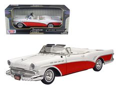 1957 Buick Roadmaster Convertible Red 1/18 Diecast Model Car by Motormax - Brand new 1:18 scale diecast model of 1957 Buick Roadmaster die cast model car by Motormax. Has steerable wheels. Brand new box. Rubber tires. Has opening hood, doors and trunk. Made of diecast with some plastic parts. Detailed interior, exterior, engine compartment. Dimensions approximately L-10.5, W-3.5, H-3 inches. Please note that manufacturer may change packing box at anytime. Product will stay exactly the…
