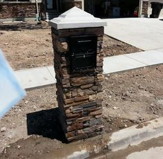 stone mailbox - Google Search Mailbox Ideas, Mailbox Designs, Stone Mailbox, Studio Apartment, Curb Appeal, Home Projects, Barn, Exterior, Driveways