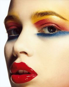 Gorgeous Makeup: Tips and Tricks With Eye Makeup and Eyeshadow – Makeup Design Ideas 80s Makeup, Makeup Art, Makeup Ideas, Retro Makeup, Runway Makeup, Yellow Makeup, Bright Makeup, Colorful Makeup, Face Paint Makeup