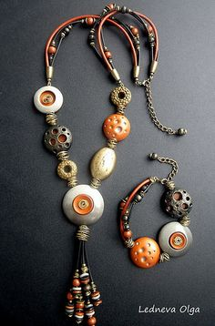 Jewellery by Olga Ledneva. Made from polymer clay. Комплект Гранд каньон