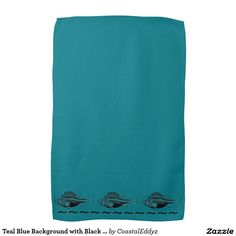 Teal Blue Background with Black Fish Hand Towels