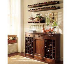 WINE BAR...add wine cooler.....love the top racks.... I could do this in my hall nook area