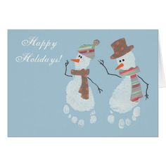 2 Baby Footprint Snowmen - Happy Holidays! Card