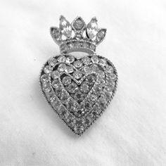Rhinestone Heart and Crown Brooch Lisner Wedding Bride Royal Elegance Princess Pin  Very sweet rhinestone heart topped with crown, signed Lisner.  It is in wonderful vintag...