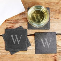 Personalized Slate Coasters by Beau-coup
