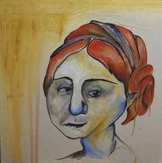 """""""Orange Woman"""" by Kate Kreps. 2014. Oil on drywall. 24""""x24"""""""