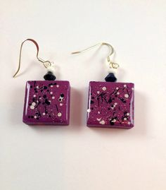 Purple Grape Abstract Dangle Earrings  Game by pendantparadise