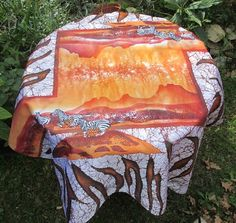 Batik Fine Art Tablecloth Zebra and Table Mountain by goldphinbatik on Etsy African Sunset, Table Mountain, Satin Color, Yellow And Brown, Zebras, One Design, Sell On Etsy, White Paints, Fine Art