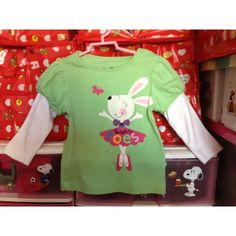 Green Top & White Long Sleeve with Rabbit 3-4 yrs S$15.90
