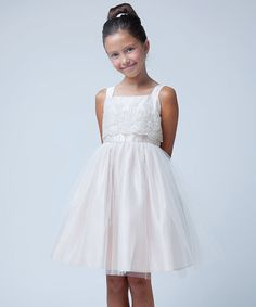 Love this Champagne Embroidered Organza & Tulle Dress - Toddler & Girls on #zulily! #zulilyfinds