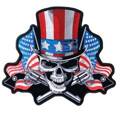 Hot Leathers Uncle Sam Skull Patriotic USA Flag Guns 5″x 4″ Embroidered Biker Jacket Patch | http://www.bikeraa.com