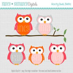 Owl Clip Art / Instant Download / Digital Clipart for  Personal and Commercial Use Hooty Owl Brite Colors