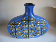 RARE Kupittaan Savi Finland Retro Blue Studio Vase Scandinavian Eames click now for info.