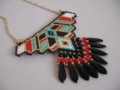Native American Beadwoven Pendant - Red/Turquoise/Black - Copyright 2014 - Patti Ann McAlister