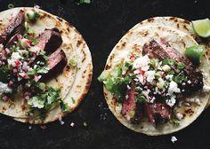 Steak Tacos with Cilantro-Radish Salsa Recipe - Bon Appétit
