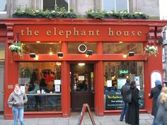 The elephant house in Edinburgh. J.K. Rowling spent time in the coffee house writing the Harry Potter books.  Loved it!