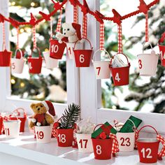 advent calender.  these look like little metal buckets but you could easily diy some peat pot buckets in a pinch.