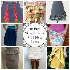 16 Free Skirt Patterns + 11 New Ideas - If you want to learn how to sew a skirt, you've found the right collection! With 16 Free Skirt Patterns to choose from, you're bound to find something you love. All of the following skirt patterns include detailed instructions that will make it easy for you to create your own skirts. Whether you're looking for something casual like the Dirndle Skirt, or something more formal like the Mulberry Style Paperbag Skirt, we've got a skirt tutorial for you!