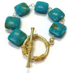 Turquoise Bracelet Gold Jewelry Gemstone by jewelrybycarmal, $60.00