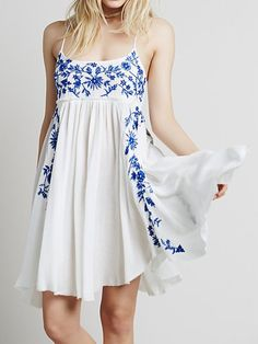 Blue Floral Leaves Embroidery Spaghetti Strap Dress   Choies