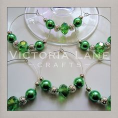 Set of 6 Beaded Wine Glass Charms Envy by VictoriaLaneCrafts. £5.00 GBP, via Etsy.