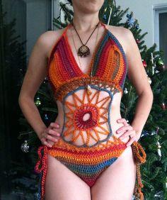 Sunset rainbow crochet bodysuit bathing suit