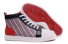Christian Louboutin Lou Spikes Mens Flat Leather Toile Loubi High Top Sneakers Shoes Red