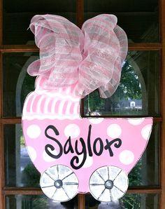"""LOVE this sweet little Baby Carriage door hanger! """"It's a Girl!"""""""