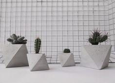 Octahedron concrete planter handmade cachepot modern por frauklarer