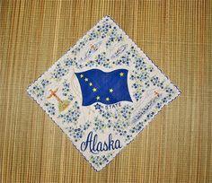 Vintage 1950s State of Alaska Handkerchief #vintage #hankie #handkerchief #buttonitupvintage