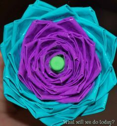 Duct tape flowers.  My kids love playing with duct tape - this is such a cool idea for them to make something creative and not messy!!