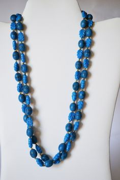 Blue Necklace Beaded Long Vintage Jewelry for women #BR4 by eventsmatters on Etsy