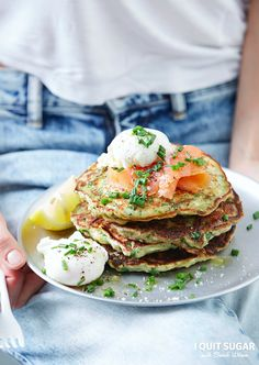 Chive, Kale, Parmesan Savoury Pancakes featured in our new 'I Quit Sugar Healthy Breakfast Cookbook'.