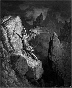 "DORÉ, Gustave (1832-1883) Satan's Flight Through Chaos (llustration of John Milton's ""Paradise Lost"") Engraving Ed. Orig."