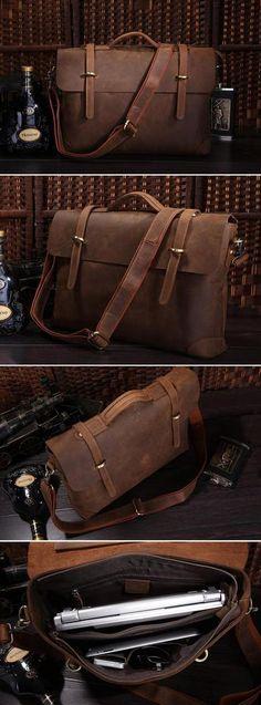 """Vintage Leather Briefcase / Messenger / 14"""" Laptop 15"""" MacBook Bag for Men"""