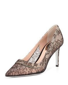 Crystal Lace Point-Toe Pump, Black by Rene Caovilla at Neiman Marcus.
