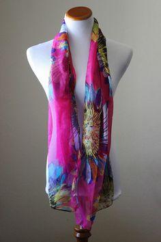 Hot pink chiffon floral scarf, bright sunflower print