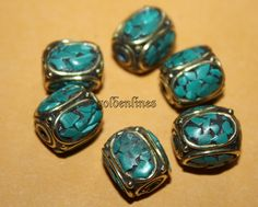 Turquoise beads (6 beads) Nepalese Beads Tibetan beads Tibet beads tribal beads bohemian beads country beads Nepal beads BDS916 by goldenlines on Etsy