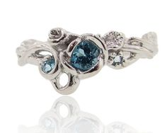 Embellished Rose Garden Ring, Full Bloom, Blue Topaz