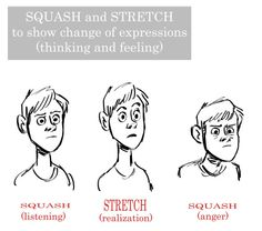 Some great Squash and Stretch tips from Mark Kennedy and Brian Lemay. Squash and stretch to show change of expressions (thinking and feeling) http://afterhoursanimationschool.tumblr.com/post/132406808463/some-great-squash-and-stretch-tips-from-mark